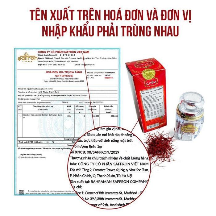 Saffron Bahraman chính hãng buộc phải có hoá đơn VAT