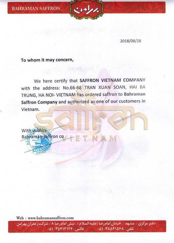 Bahraman Saffron Company hợp tác cùng Saffron VIETNAM