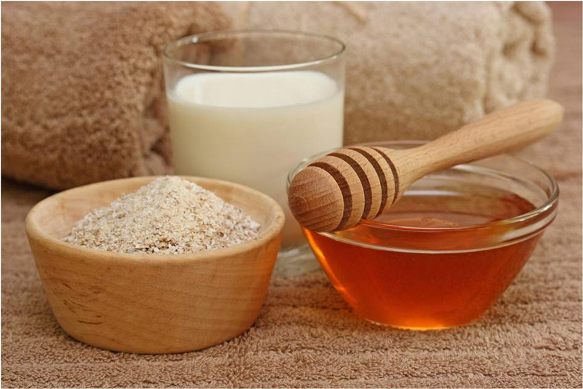 Mặt nạ cám gạo + sữa tươi + mật ong + saffron - Tẩy da chết, làm trắng sáng và đều màu da